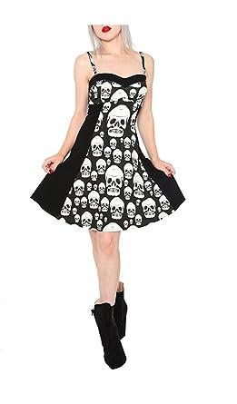 9e48b465c Royal Bones by Tripp Gothic Witch Punk Rocker Muerta Skulls Metal Skater  Dress (M) at Amazon Women's Clothing store: