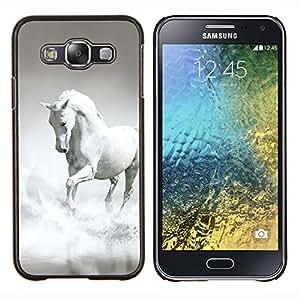 LECELL--Funda protectora / Cubierta / Piel For Samsung Galaxy E5 E500 -- Caballo Blanco Gris Nubes galopante del semental --