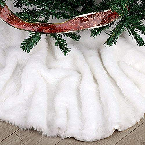 FDY MY Extra Large Christmas Tree Skirt 60 inches Pure White Faux Fur Tree Skirt Merry Christmas Year Party Holiday Home Decorations