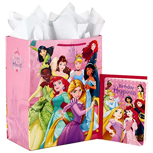 Hallmark Large Disney Princess Gift Bag with Birthday Card and Tissue Paper (Ariel, Belle, Rapunzel, Cinderella, and More)