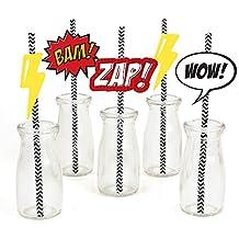 BAM! Superhero Paper Straw Decor - Baby Shower or Birthday Party Striped Decorative Straws - Set of 24