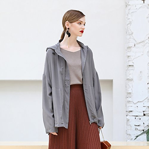 Xuanku A Female Sauna Silk Jackets In Long Silk Coat Outer Ground Grey