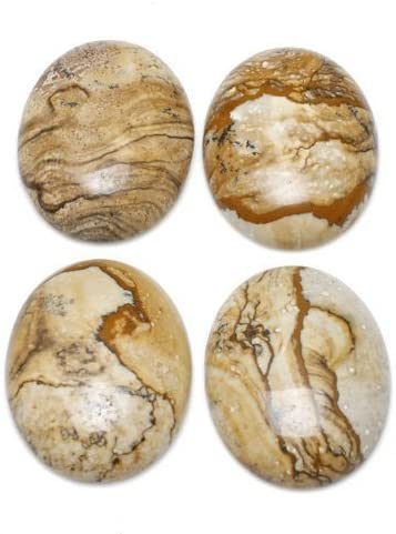 Picture Jasper 30x40mm Oval-Shaped Flat-Backed Cabochon Wire-Wrapping CA16632-8