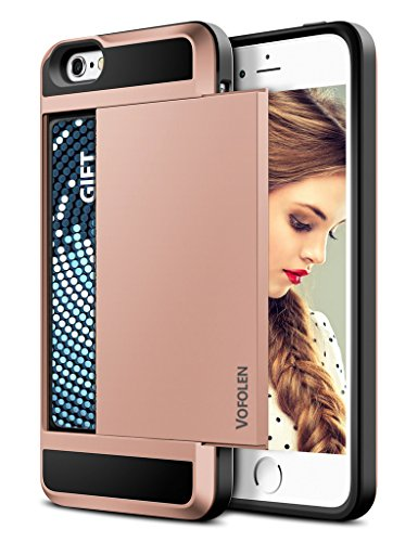 Vofolen Sliding Cover for iPhone 5C Case Wallet Pocket Impact Resistant Hybrid Shield Armor Snap-on Black Soft Rubber Bumper Skin Protective Hard Shell with Card Slot Holder for iPhone 5C (Rose Gold)