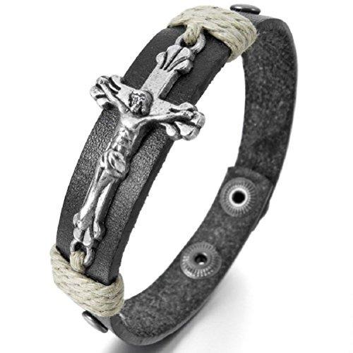 GSG Men's Genuine Leather Bangle Bracelets Black Silver Jesus Christ Crucifix Cross (Crucifix Silver Bracelet)