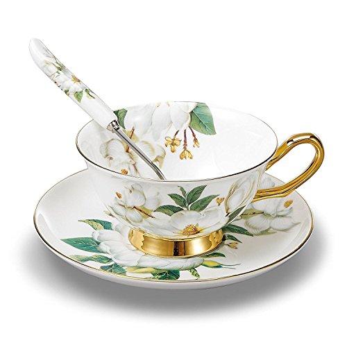 TouchLife Juego de tazas de te de porcelana fina, con platillo y cuchara, con motivo de camelias de color blanco y verde en caja de regalo, Porcelana de ceniza de hueso, 1 set, Set of 1 with gift box