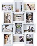 Multi Cadre Photo Arpan Apperture Porte 12 x 6''X4'' Photos Cadeau Idéal Disponible en Noir / Blanc / Rose - Taille approx 59cm x 45cm x 2.5cm, Plastique, Blanc