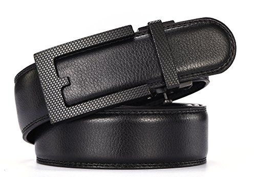 [HW Zone Ratchet Belt For Men/Boy-soft Leather With Automatic Buckle Belt 35mm Wide 1 3/8