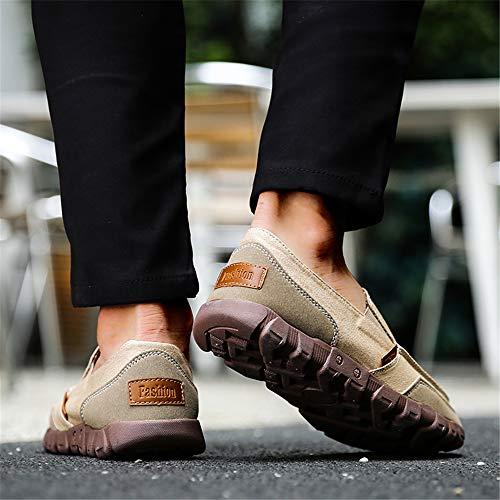 Classici Fashion Outdoor On Giallo Walking durevoli Uomo Casual Slip Traspiranti di Scarpe Mocassini Flat LIEBE721 Tela x0wvqPCH