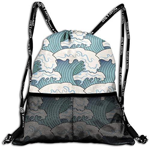 (Mr.Roadman 3D Print Leisure Bundle Backpack Cool Waves Seamless Art Portable Drawstring Bag Travel Bag Yoga Runner Daypack Polyester Shoe Bags)