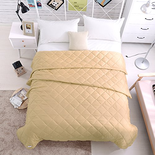 KFZ Summer Quilt Comforter Bedspread for Bed Breathable HDD 4 Sizes Love Stripes Beard Lattice Designs for Children Adult One Piece (Light Tan, Queen,79''x91'')