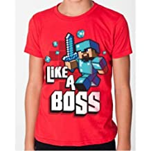 Minecraft Like A Boss Officially Licensed T-Shirt (Youth Medium M)