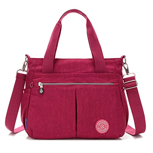 Red Handbag Water Purplish Chou Messenger Tote Tiny with Resistant Shoulder Strap Crossbody Detachable Nylon Bag wq6BO5X