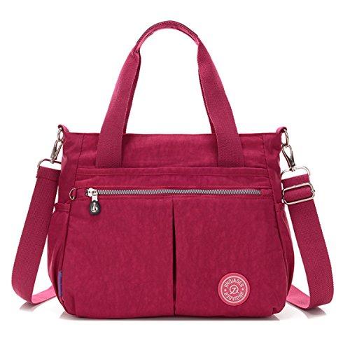 Rouge à l'eau à résistant amovible Red à bandoulière bandoulière sac Petit à main Purplish sac avec sac en bandoulière nylon Chou tqUxSE