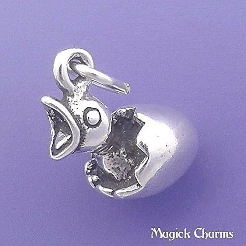925 Sterling Silver 3-D Charm Chick in Egg Hatching Baby Bird Pendant - lp2391 Jewelry Making Supply, Pendant, Charms, Bracelet, DIY Crafting by Wholesale Charms ()