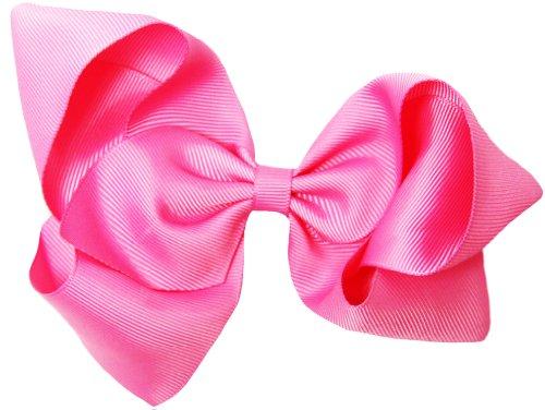 - Bubblegum Pink Grosgrain Hair Bow Clip - 6