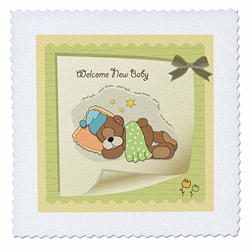 Cuddly Bear Quilt - 3dRose qs_167244_4 Welcome New Baby with Cuddly Sleeping Bear Ribbon & Flower Quilt Square, 12 by 12