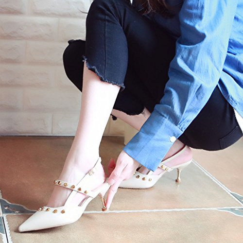 Xue Qiqi Tribunal Zapatos Sandalias Zapatos de Baile Remaches Amarre ranurados, Sandalias de Tacón Alto, vaciar la Punta Fina con una luz-Zapatos Zapatos única Hembra,39, Beige