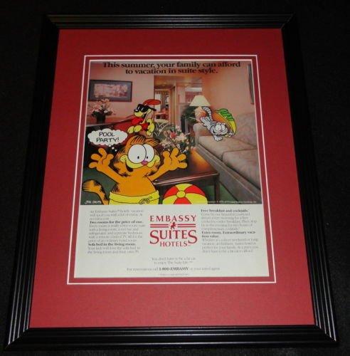 1987 Embassy Suites Garfield Odie 11X14 Framed Original Vintage Advertisement