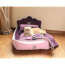 Luxury Princess Pet Bed for Dogs Cats,Washable Dog Bed for Small Medium Dogs and Large Cats with Blanket and Pillow, Dog/Cat Sofa Bed(M,Pink)