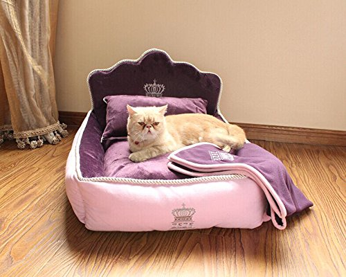 Yicat (Set of 3) Pet Bed, Quilt and Pillow, Comfortable Soft Full Washable Pet Beds ZEZE Dog Kennel Cotton Nest Teddy Princess Bed Cat Litter (M: 6251cm, 002:Purple)