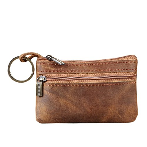 Genuine Leather Mens Tray Purses Coin Purse Cash Change Wallet Key Holder Money Pouch