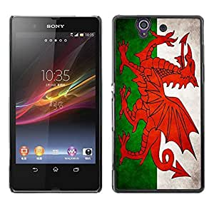 Shell-Star ( National Flag Series-Welsh ) Snap On Hard Protective Case For SONY Xperia Z / L36H / C6602 / C6603 / C6606