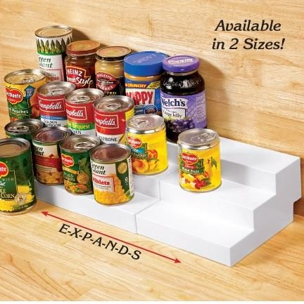 (TIERED STEPPED EXPANDING PANTRY SHELF RISERS ORGANIZER)