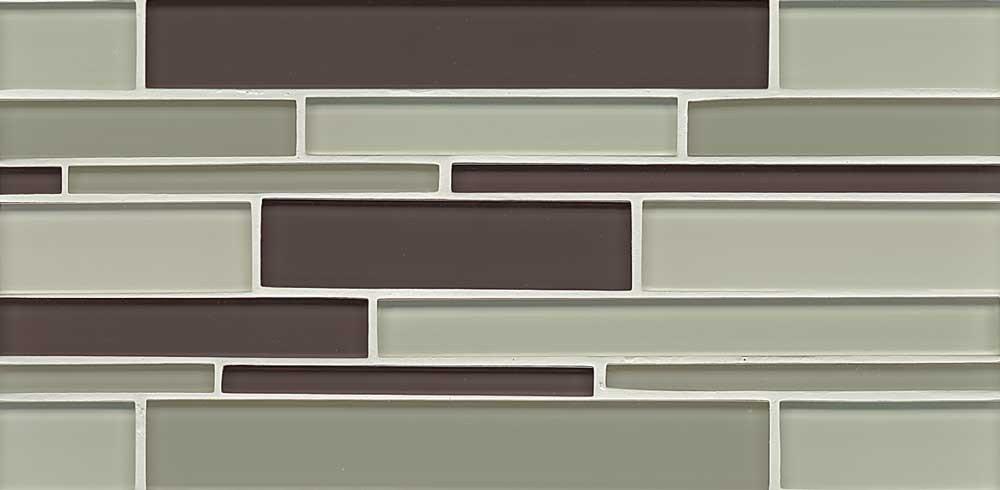 Bedrosians GLSHAMSHERIGB ''Hamptons Glass'' Mosaic with Random Interlocking Pattern in Gloss Blend, 16'' x 6.5'', Spa
