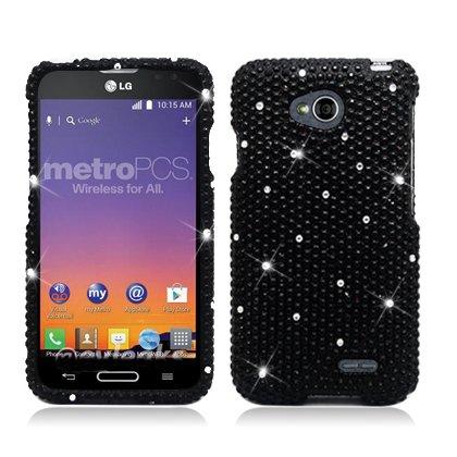 (Aimo Wireless For LG Optimus L70 (MetroPcs/Cricket) / Optimus Exceed 2 W7 (Verizon) / LS620 Realm (Boost Mobile) / L41C Ultimate 2 (Straight Talk) Large Full Diamond, All Black)