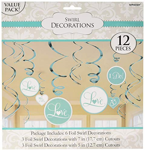 Value Pack Foil Swirl Decorations - Robins Egg Blue | Wedding and Engagement Party