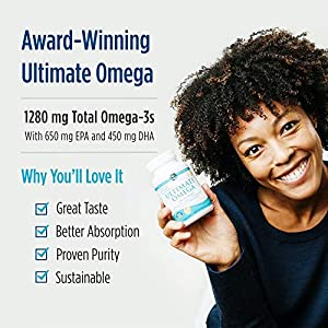 Nordic Naturals Ultimate Omega, Lemon Flavor - 1280 mg Omega-3-90 Soft Gels - High-Potency Omega-3 Fish Oil Supplement with EPA & DHA - Promotes Brain & Heart Health - Non-GMO - 45 Servings