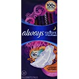 Always Radiant Overnight Feminine Pads with Wings, Scented, 22 Count - Pack of 3 (66 Total Count)