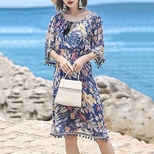 TTSKIRT Mujer Algodón Corte Swing Vestido Alta Cintura hasta La Rodilla,Blue,M