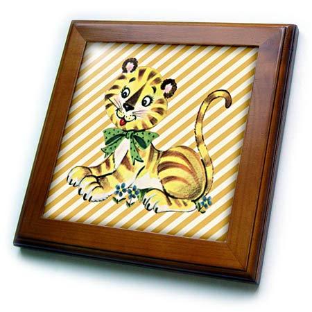 (3dRose Lens Art by Florene - Childrens Art V - Image of Cute Retro Tiger On Yellow Diagonal Stripes - 8x8 Framed Tile (ft_302512_1))