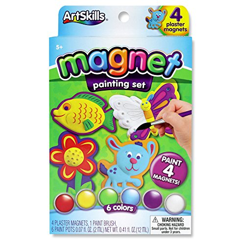 ArtSkills Paint Your Own Magnets, Arts and Crafts Supplies, Paint Brush, Paint Pots, with Included Designs, 4 Count -