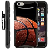 TurtleArmor | Apple iPhone 6 Case | iPhone 6s Case [Hyper Shock] Armor Solid Hybrid Kickstand Impact Silicone Holster Belt Clip Sports and Games Design - Basketball Seams