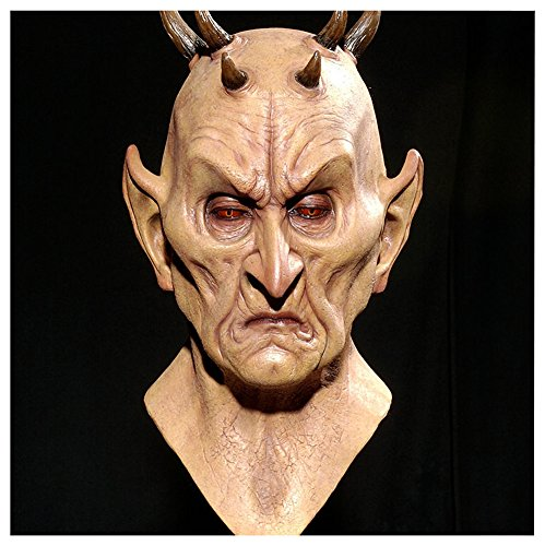 QTMY Latex Rubber Animal Cattle Ox Horn Devil Mask for Halloween Party Costume -