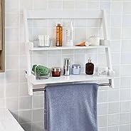 SoBuy Bathroom Wall Mounted Shelf,Storage Display Ladder Shelf,2 Shelves + 1 Hanging Rail ,White