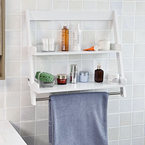 SoBuy FRG117-W, White Wall Mounted Shelf, Storage Display Ladder Shelf, Bathroom Shelf, 2 Shelves + 1 Hanging Rail