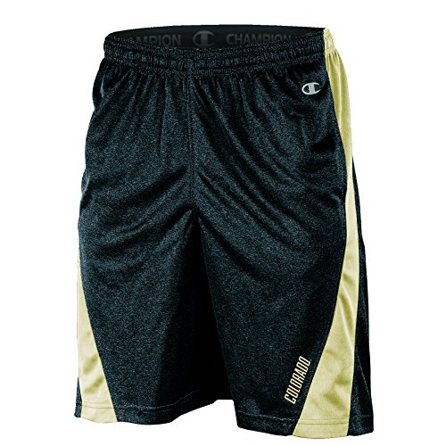Champion NCAA Colorado Buffaloes Adult Men Training Short with Contr, Medium, Black Heather