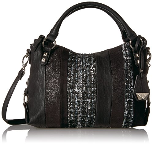 Jessica Simpson Ryanne Patchwork Xbody Small Top Zip Tote, Black Tonal Multi