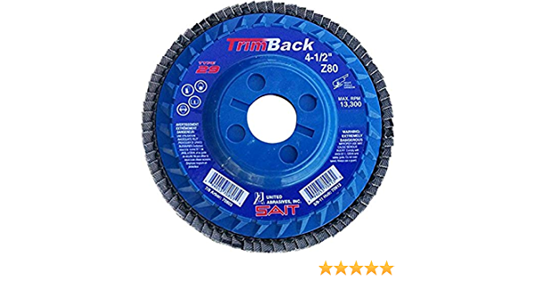 United Abrasives 10-Piece SAIT 70970 Trim Back Flap Disc with 5-Inch-Inch Diameter and 5//8-11-Inch Arbor