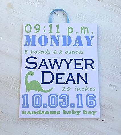 Amazon.com: Placa de madera personalizado bebé estadísticas ...