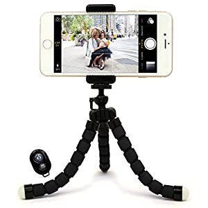 Bastex Universal Compact Flexible Octopus Style Black Tripod Stand Holder/Mount with Adapter for Smartphone / GoPro Hero All Versions - Includes Remote