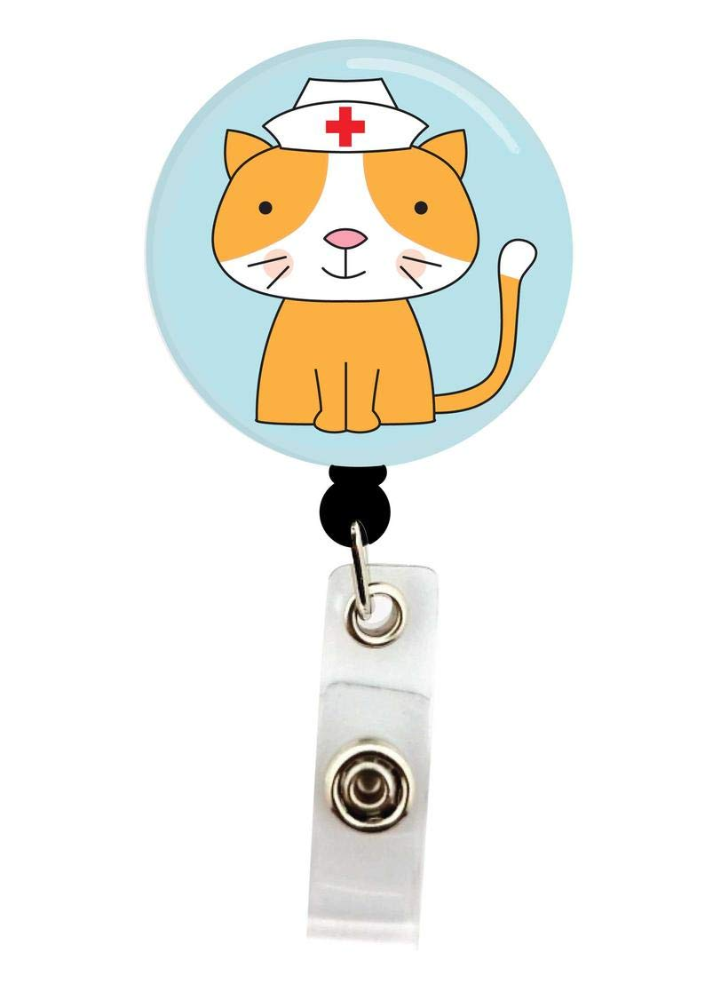 Interchangeable Badge Reel Christmas Cat Badge Topper Nurse Badge Reel