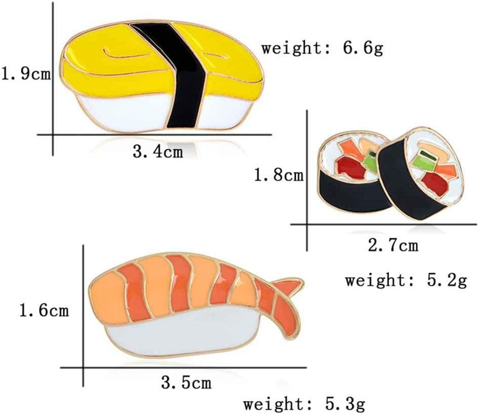 Floridivy 3PCS smalto Pernos fumetto giapponese Sushi Broche Pin Pulsante Giacca di Vaqueros Zaino Camiseta Collare Pin de la Solapa