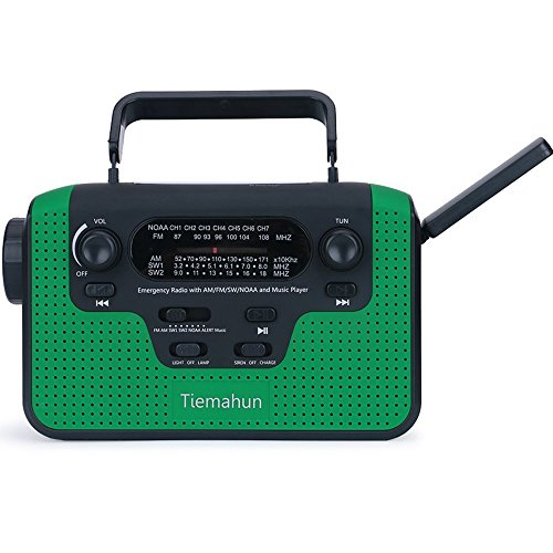 Tiemahun NOAA Weather Alert Radio Solar Emergency Radios WB/FM/AM/SW, Hand Crank Windup MP3 Music Radio 2300mAh Mobile Phone Charger LED Flashlight Reading Lamp TF Card Speaker (Green)