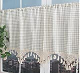 ZHH Retro Style Cotton Linen Lattice and Hand-crocheted Tassel Splice Window Valance Cafe Curtain 27 by 70-Inch Review