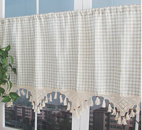 ZHH Retro Style Cotton Linen Lattice and Hand-crocheted Tassel Splice Window Valance Cafe Curtain 17 by 70-Inch
